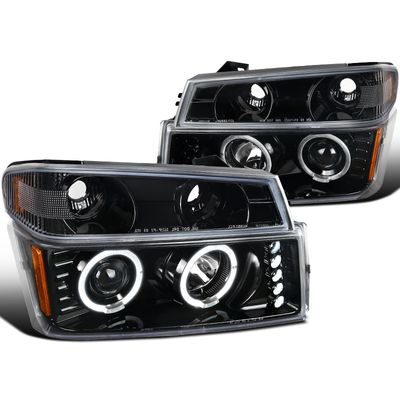 04-12 Chevy Colorado / GMC Canyon Halo Projector Headlights + Bumper Signal - Glossy Black / Clear Lens