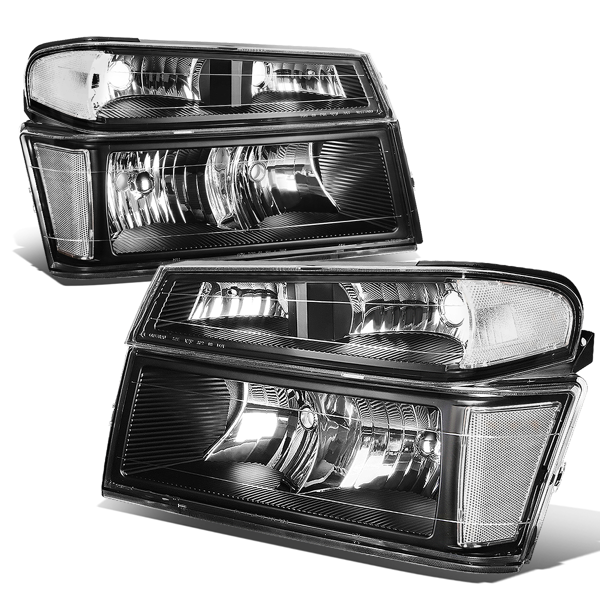Driver and Passenger Side Chrome Headlight Assembly for 04-12 Chevy Colorado 04-12 GMC Canyon Headlamps Replacement with Bumper Lights