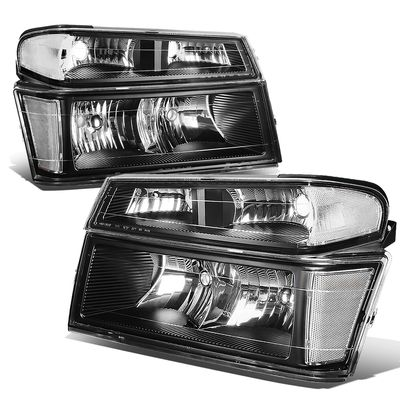 04-12 Chevy Colorado / GMC Canyon Pair of Headlight & Bumper Light (Black / Clear Corner)