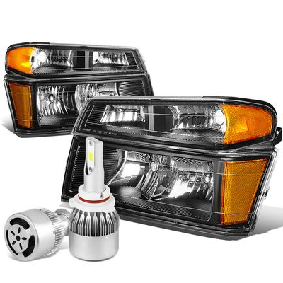 04-12 Chevy Colorado / GMC Canyon Pair of Headlight & Bumper Light (Black Housing Amber Reflector)+6000K White LED w/ Fan