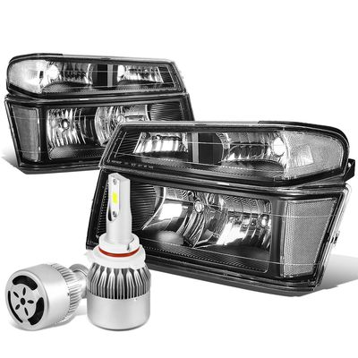 04-12 Chevy Colorado / GMC Canyon Pair of Headlight & Bumper Light (Black Housing Clear Reflector)+6000K White LED w/ Fan