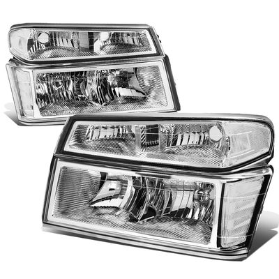 04-12 Chevy Colorado / GMC Canyon Pair of Headlight & Bumper Light (Chrome / Clear Corner)