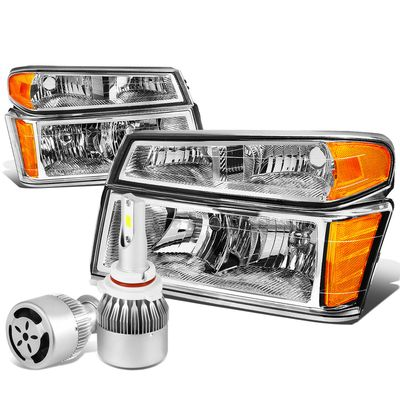 04-12 Chevy Colorado / GMC Canyon Pair of Headlight & Bumper Light (Chrome Housing Amber Reflector)+6000K White LED w/ Fan