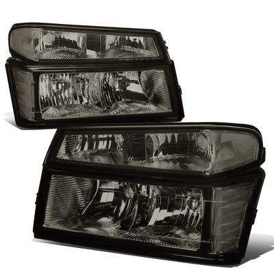 04-12 Chevy Colorado / GMC Canyon Pair of Headlight & Bumper Light (Smoked / Clear Corner)