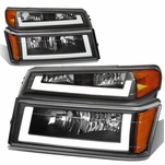 04-12 Chevy Colorado LED DRL Headlight Replacement - Black Amber