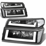 04-12 Chevy Colorado LED DRL Headlight Replacement - Black Clear