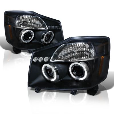 04-14 Nissan Titan / 04-07 Armada Dual Halo DRL LED Projector Headlights - Black