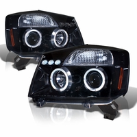 04-14 Nissan Titan / 04-07 Armada Dual Halo DRL LED Projector Headlights - Gloss Black