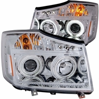 04-12 Nissan Titan Dual CCFL Halo & LED DRL Projector Headlights - Chrome