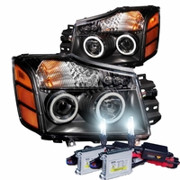 HID Xenon + 04-14 Nissan Titan / 04-07 Armada  CCFL Angel Eye Halo & LED Projector Headlights - Black