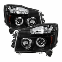 04-14 Nissan Titan / 04-07 Armada  Dual Halo & LED Projector Headlights - Black