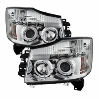 04-14 Nissan Titan / 04-07 Armada  Dual Halo & LED Projector Headlights - Chrome