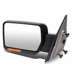 04-14 Ford F-150 Black Amber Signal + Manual Extendable Side Towing Mirrors (Left/Driver)