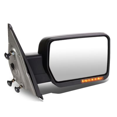 04-14 Ford F-150 Black Amber Signal + Manual Extendable Side Towing Mirrors (Right/Passenger)