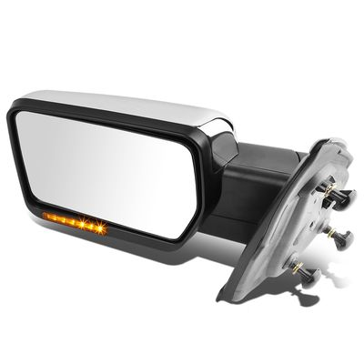 04-14 Ford F-150 Chrome Amber Signal + Manual Extendable Side Towing Mirrors (Left/Driver)