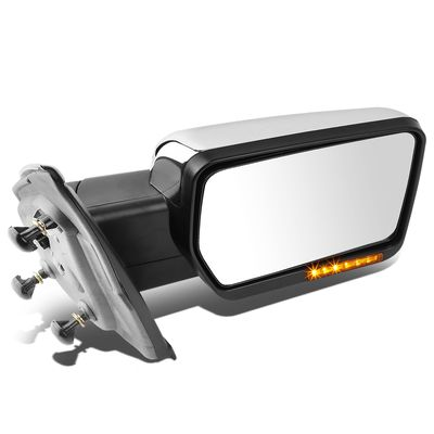 04-14 Ford F-150 Chrome Amber Signal + Manual Extendable Side Towing Mirrors (Right/Passenger)