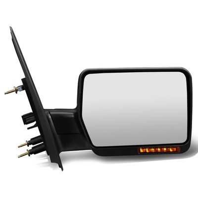 04-14 Ford F150 Black Manual Foldable Side Towing Mirror w/LED Turn Signal (Right/Passenger)