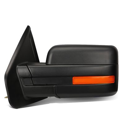 04-14 Ford F150 Black Powered Heated Glass + Turn Signal Light Side Towing Mirror (Left/Driver)