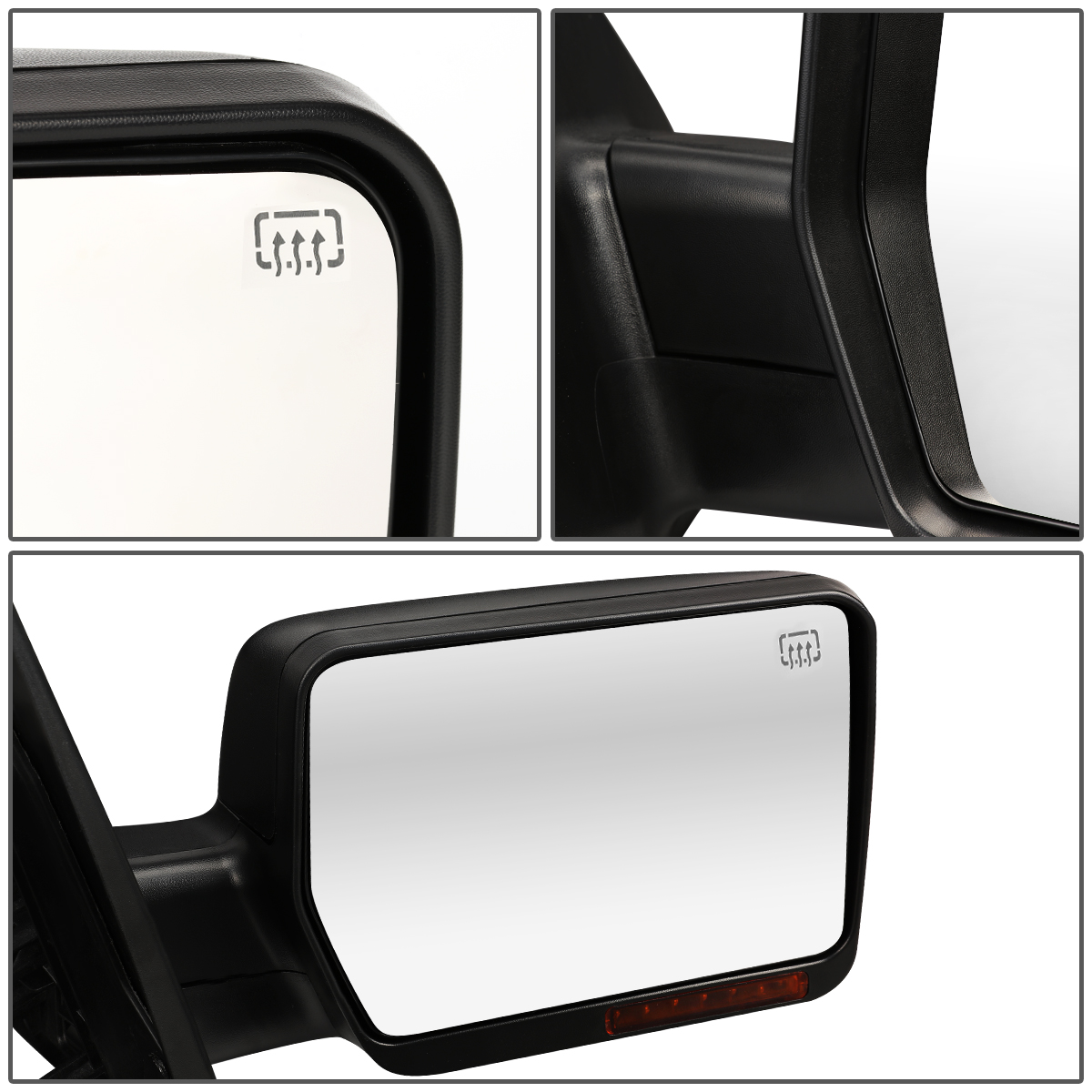 For 04-14 Ford F150 Black Power+Heat+Turn Signal Light Side Towing Mirror Right