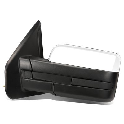 04-14 Ford F150 Chrome Powered Heated Glass + Manual Folding Side Towing Mirror (Left/Driver)