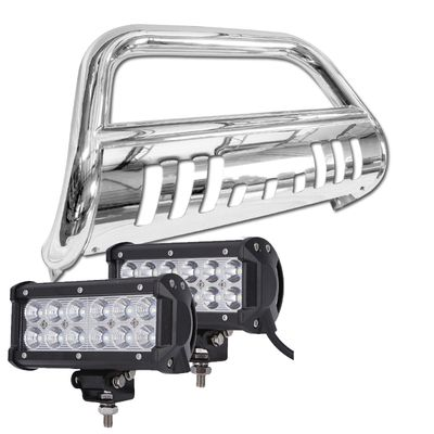 04-14 Ford F150 / Expedition Front Bumper Bull Bar Guard + 36W LED Light Bar - Polished