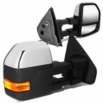 04-14 Ford F150 Pair Amber LED Turn Signal Manual Towing Mirrors - Chrome / Amber