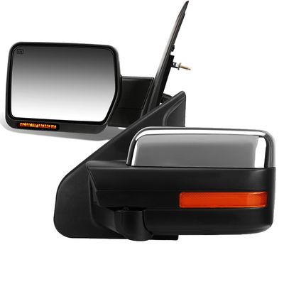04-14 Ford F150 Power / Heated / LED / Chrome Cover Side Mirror - Pair