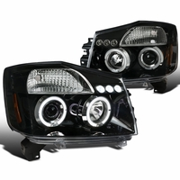04-14 Nissan Titan / 04-07 Armada Dual Halo DRL LED Projector Headlights - Gloss Black / Clear Lens