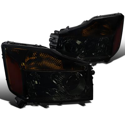 04-15 Nissan Titan / 04-07 Armada Crystal Replace Headlights - Smoked