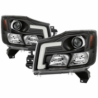 04-15 Nissan Titan / 04-07 Armada LED DRL Tube Projector Headlights - Black