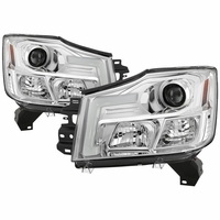 04-15 Nissan Titan / 04-07 Armada LED DRL Tube Projector Headlights - Chrome