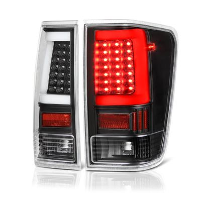 04-15 Nissan Titan LED Light-Tube Style Tail Lights - Black