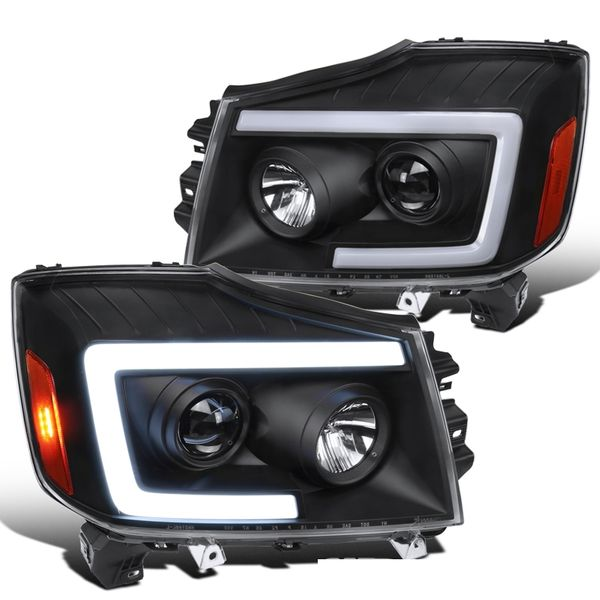 04-15 Nissan Titan Switchback LED Sequential Projector Headlights - Matte Black