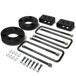 04-17 Ford F-150 Black 2-inch Front 2-inch Rear Leveling Lift Kit Spacers / Blocks + U-Bolts