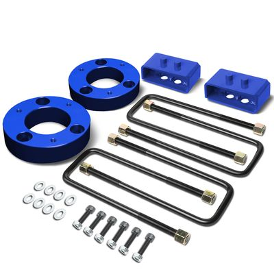 "04-17 Ford F-150 Blue 2"" Front 2"" Rear Leveling Lift Kit Spacers / Blocks + U-Bolts"