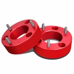 """04-17 Ford F-150 Pair of Red Front 2.5"""" Billet Anodized Aluminum Leveling Lift Kit Spacers"""