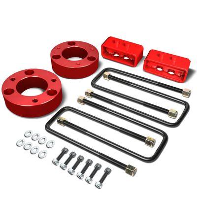 "04-17 Ford F-150 Red 2.5"" Front 2"" Rear Leveling Lift Kit Spacers / Blocks + U-Bolts"
