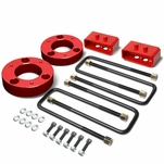 04-17 Ford F-150 Red 2-inch Front 2-inch Rear Leveling Lift Kit Spacers / Blocks + U-Bolts