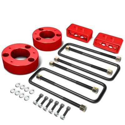 """04-17 Ford F-150 Red 3"""" Front 2"""" Rear Leveling Lift Kit Spacers / Blocks + U-Bolts"""
