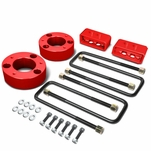 04-17 Ford F-150 Red 3-inch Front 2-inch Rear Leveling Lift Kit Spacers / Blocks + U-Bolts