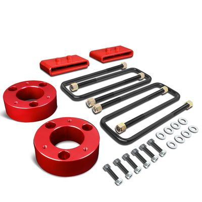 "04-17 Ford F150 4WD Red 3"" Front Spacers + 1"" Rear Blocks Raise Leveling Lift Kit"