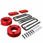 04-17 Ford F150 4WD Red 3-inch Front Spacers + 1-inch Rear Blocks Raise Leveling Lift Kit