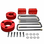 04-17 Ford F150 Red 3-inch Front Strut Top 3-inch Rear Leaf Spring Mount Leveling Lift Kit Spacers + Blocks