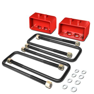 "04-17 Ford F150 Red Rear 3"" Leaf Spring Mount Leveling Lift Kit Blocks + U-Bolts"