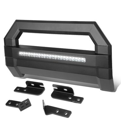 04-18 Ford F150 Square Tube Lightweight Bull Bar w/LED Light+License Plate Relocation - Black