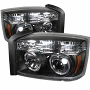 05-07 Dodge Dakota 1-Pc Halo Euro Projector Headlights - Black