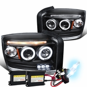 HID Xenon + 05-07 Dodge Dakota Dual Angel Eye Halo & LED Strip Projector Headlights - Black