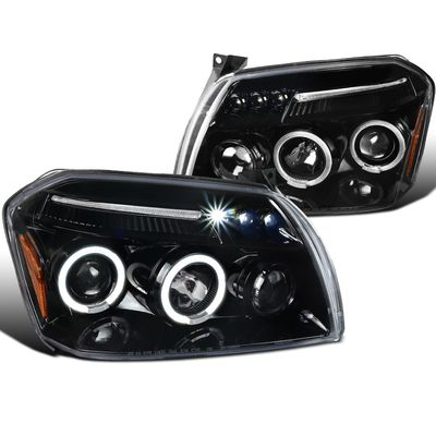 05-07 Dodge Magnum Angel Eye Halo & LED DRL Projector Headlights - Gloss Black / Clear