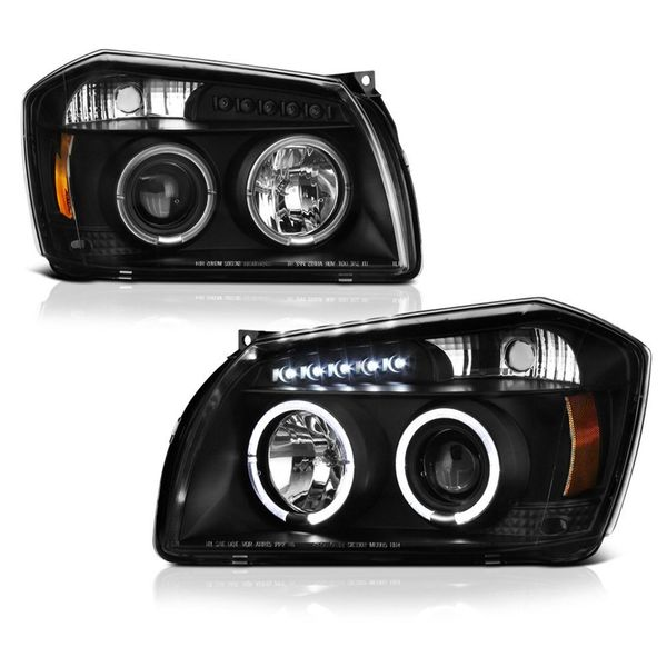 05-07 Dodge Magnum Angel Eye Halo & LED Projector Headlights - Black