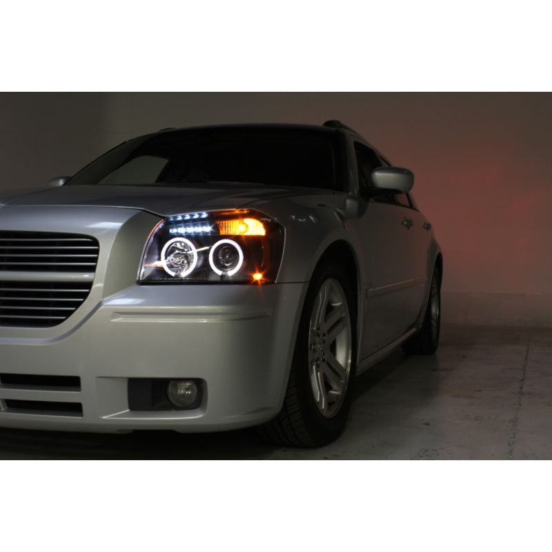 FITS DODGE MAGNUM 05-07 HALO BLUE PROJECTOR CHROME HEADLIGHTS WITH LED